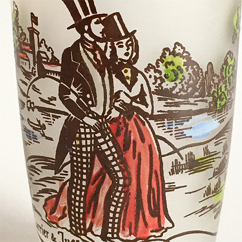 【Vintage】Currier & Ives glass1  1950年代 フロストグラス2
