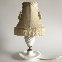 【Vintage】Milk Glass Fringe Shade Table lamp ミルクガラスフリンジシェード テーブルランプ