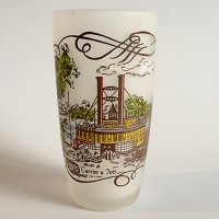 【Vintage】Currier & Ives glass1  1950年代 フロストグラス1
