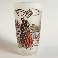 【Vintage】Currier & Ives glass2  1950年代 フロストグラス2