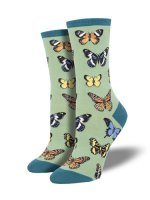 【SOCK SMITH】MAJESTIC BUTTERFLIES GREEN レディースソックス