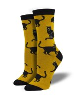 【SOCK SMITH】BLACK CAT YELLOW レディースソックス
