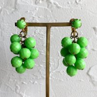 【Vintage】Green beads Earrings