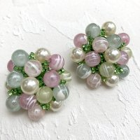 【Vintage】Pastel beads Earrings