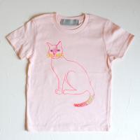 ねこ Tシャツ キッズ:baby pink