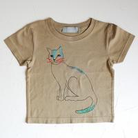 ねこ Tシャツ キッズ:khaki