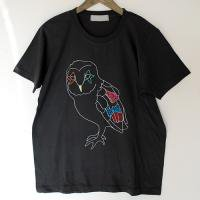 ふくろう Tシャツ メンズ02:black