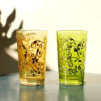 Mint tea glass 耐熱ミントティーグラス2個セット yellow&green