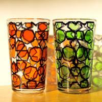 Mint tea glass 耐熱ミントティーグラス2個セット red&green
