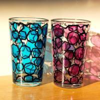 Mint tea glass 耐熱ミントティーグラス2個セット blue&pink