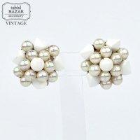 【American Vintage】Earrings ヴィンテージイヤリング Silver&White  from Los Angeles