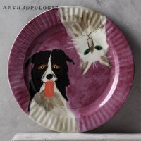 【Anthropologie】The Farm Dessert Plate dog & cat  いぬねこプレート