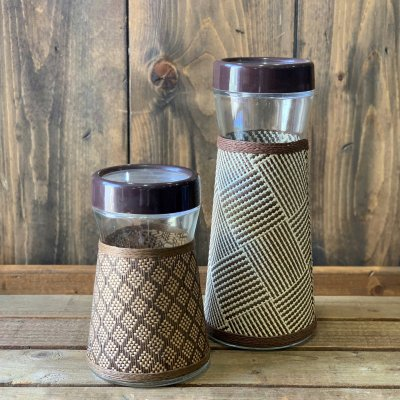 Mesh Covered Glass Canister / Tall
