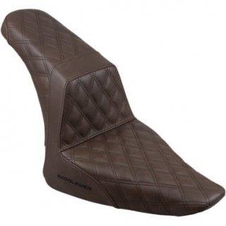 サドルマン LS STEP-UP シート フロント&リアともにダイアモンドステッチ ブラウン 2012-17 FLSソフテイルスリム 0802-1033