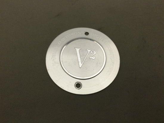 【中古 】ハーレー純正 タイマーカバー V2ロゴ入り タテ2穴 絶版品 32524-83