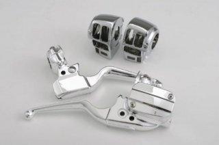 V-TWIN製 ハンドルバーコントロールキット クローム 08-13 ツーリングモデル デュアルディスク車 ラジオとクルコン スイッチ 付き 22-0882