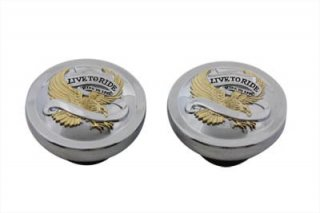 V-TWIN Eagle Spirit LIVE TO RIDE ガスキャップ 左右セット ゴールドインレー 83-95 ビッグツイン 38-7002