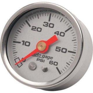 オートメーター 1-5/8インチ オイルプレッシャーゲージ シルバーフェイス 2212-0006