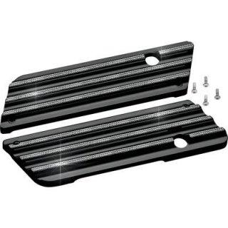コビントン サドルバッグ ラッチカバー Finned ブラック ダイアモンド 93-13 ツーリング 3501-0557