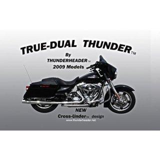 サンダーヘッダー TRUE DUALマフラー 独立管 2本出し 09ツアラー用 ブラック 1051B