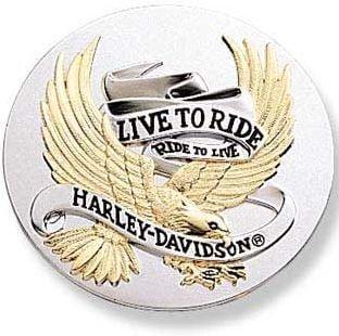 ハーレー純正 LIVE TO RIDEロゴ ユニバーサルメダリオン 3.5インチ ゴールド マルチ 99027-90T