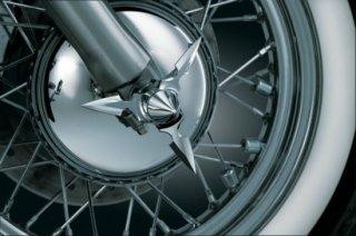 クリアキン フロント アクスルキャップ Spun Blade Spinning Pointed 07-17ソフテイル/2008-19ツーリング 1234