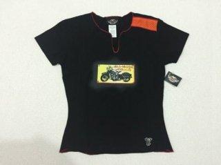 ハーレー純正 Tシャツ レディース Sサイズ 黒 ビンテージバイクプリント
