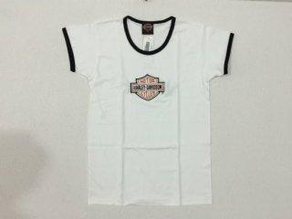 ハーレー純正 Tシャツ レディース Sサイズ 白 BAR & SHIELD刺繍