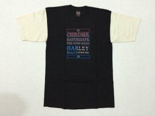 ハーレー純正 Tシャツ メンズ Mサイズ ブラック/ベージュ CHROME SATURDAYS