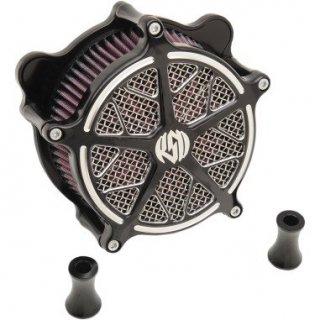 ローランドサンズ Hutch エアクリーナー コントラストカットブラックOPS 08-17ツインカムの電子スロットルモデル 1010-1802