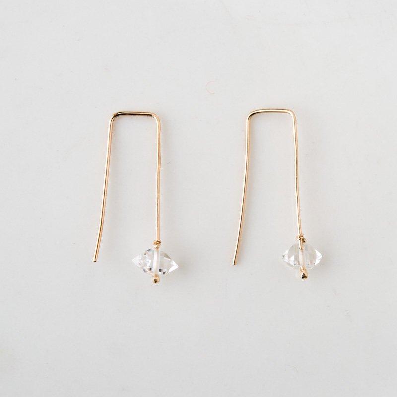 ハーキマーダイヤモンド K10 ラインピアス