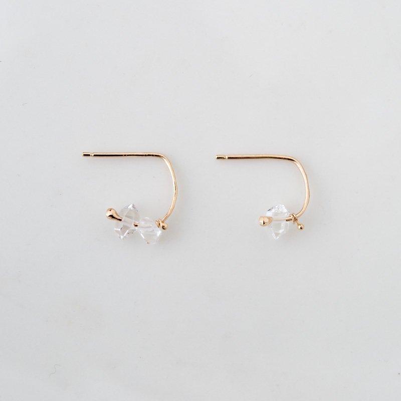 ハーキマーダイヤモンド K10 フープピアス
