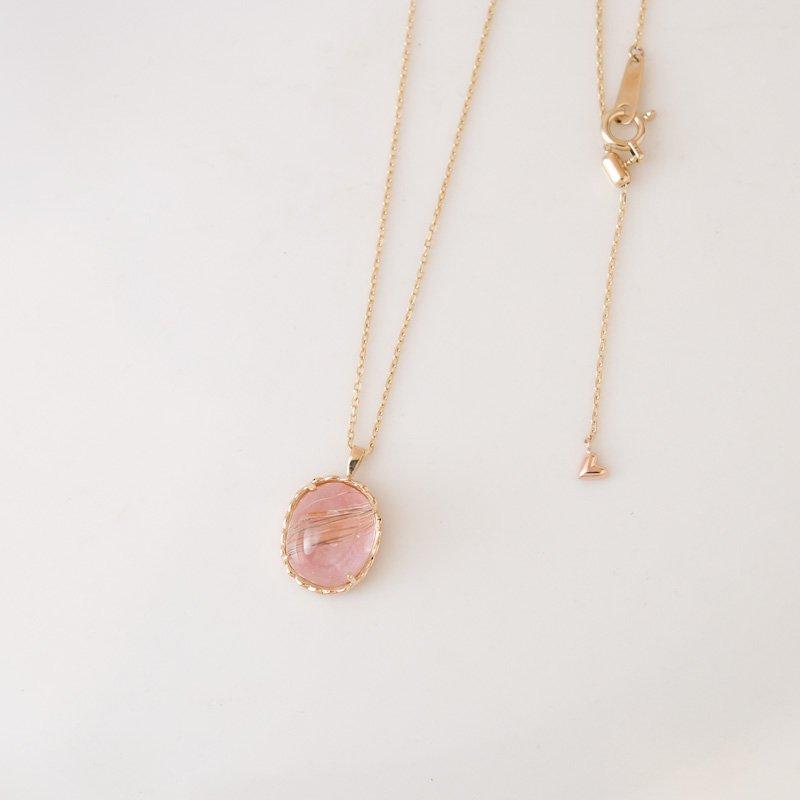 【1点もの】ルチルクオーツ×ピンクオパール K10 ネックレス