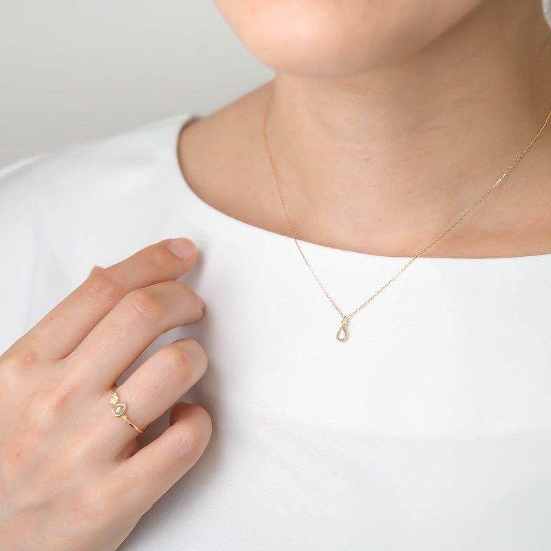 【1点もの】ローズカットダイヤモンド 朝露 K18YG ネックレス