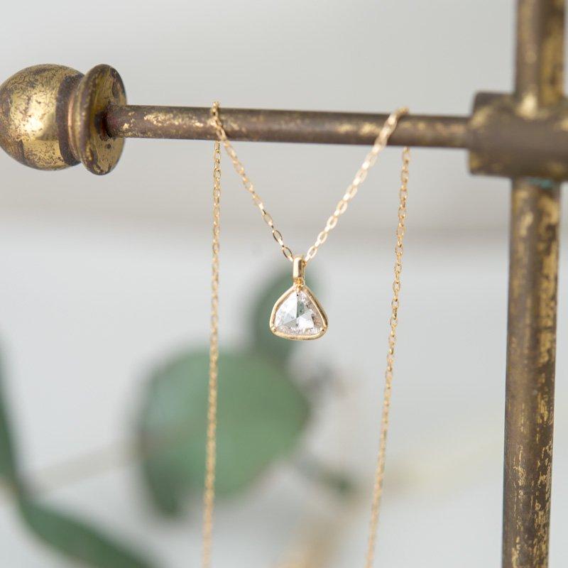 【1点もの】ローズカット トライアングル ダイヤモンド K18YG ネックレス
