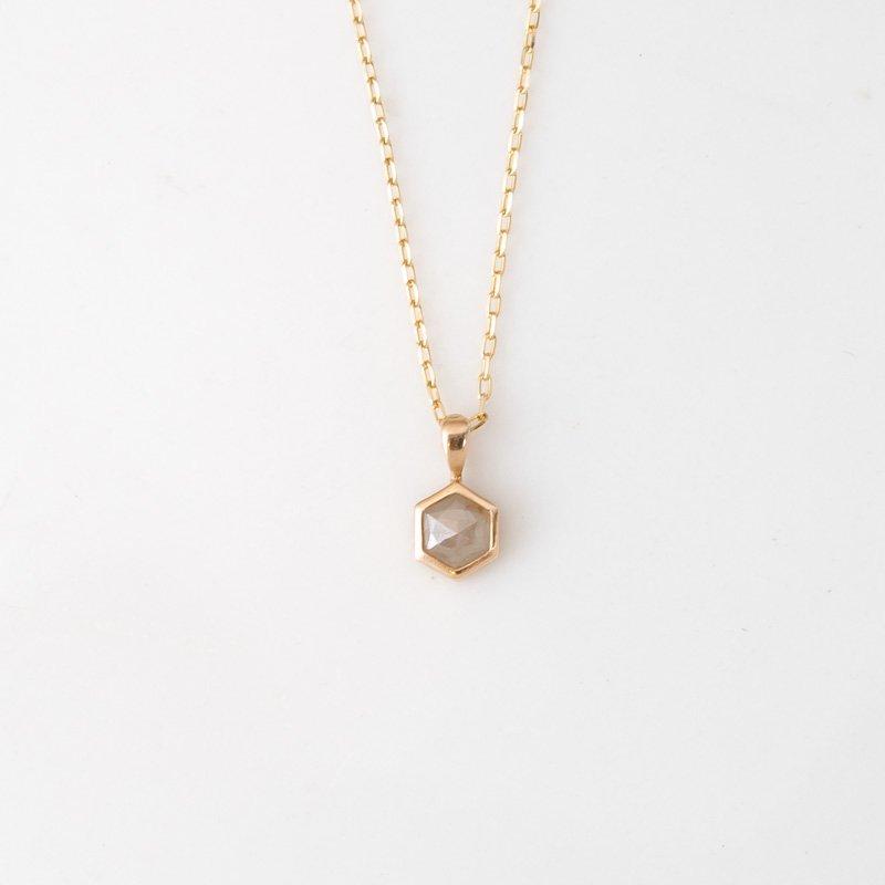 【1点もの】ヘキサゴン グレーナチュラルダイヤモンド K10YG ネックレス