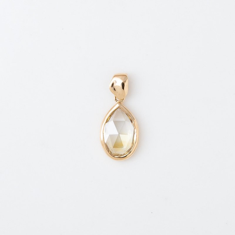 【1点もの】ローズカット レモングラデーションダイヤモンド  K18YG ペンダントトップ