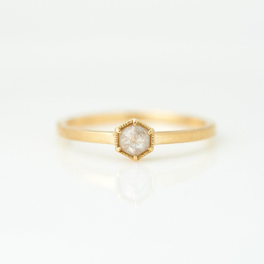 【1点もの】ヘキサゴン ナチュラルダイヤモンド K18YG リング