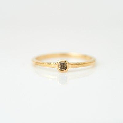 【1点もの】グリーン ダイヤモンド K18YG ミルリング
