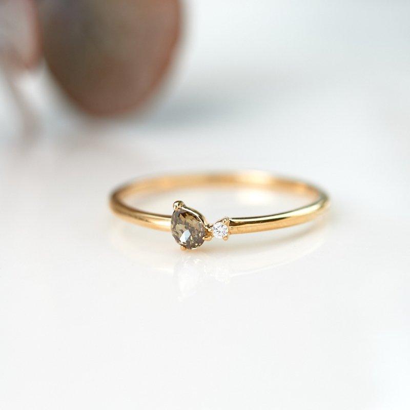 【1点もの】ブラウンドロップ ダイヤモンド K18YG リング