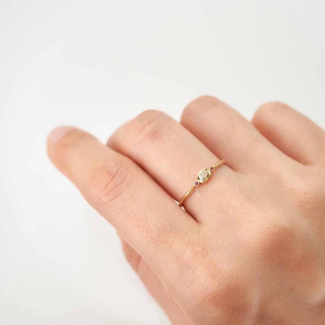 【1点もの】ハニーダイヤモンド ルビー K18YG リング