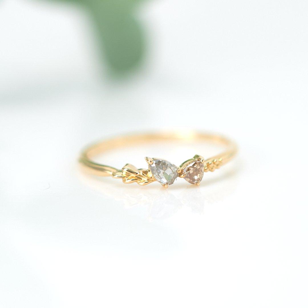 【1点もの】ダブルドロップダイヤモンド K18YG リング