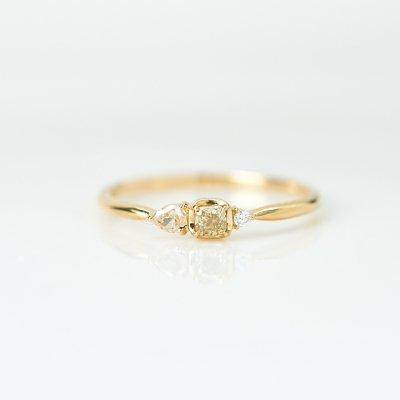 【1点もの】トロワ カラーダイヤモンド K18YG リング