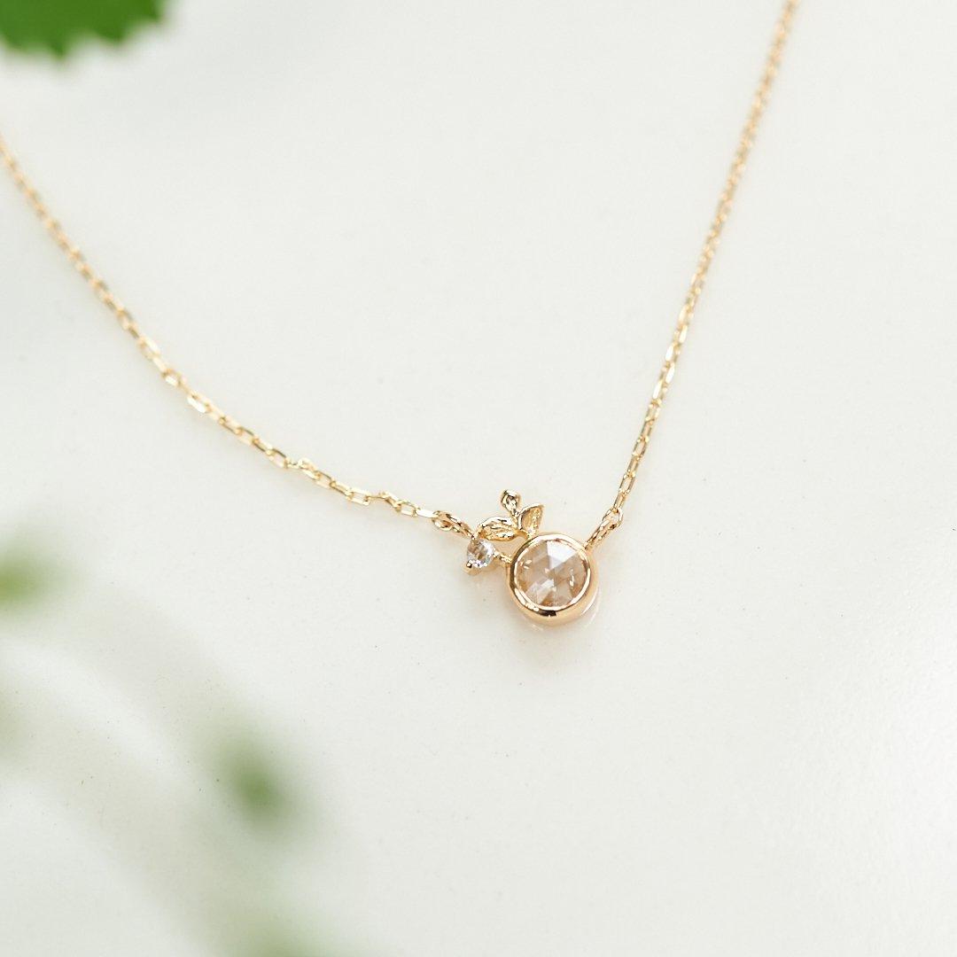 【1点もの】ローズカットダイヤモンド 新芽 K18 ネックレス