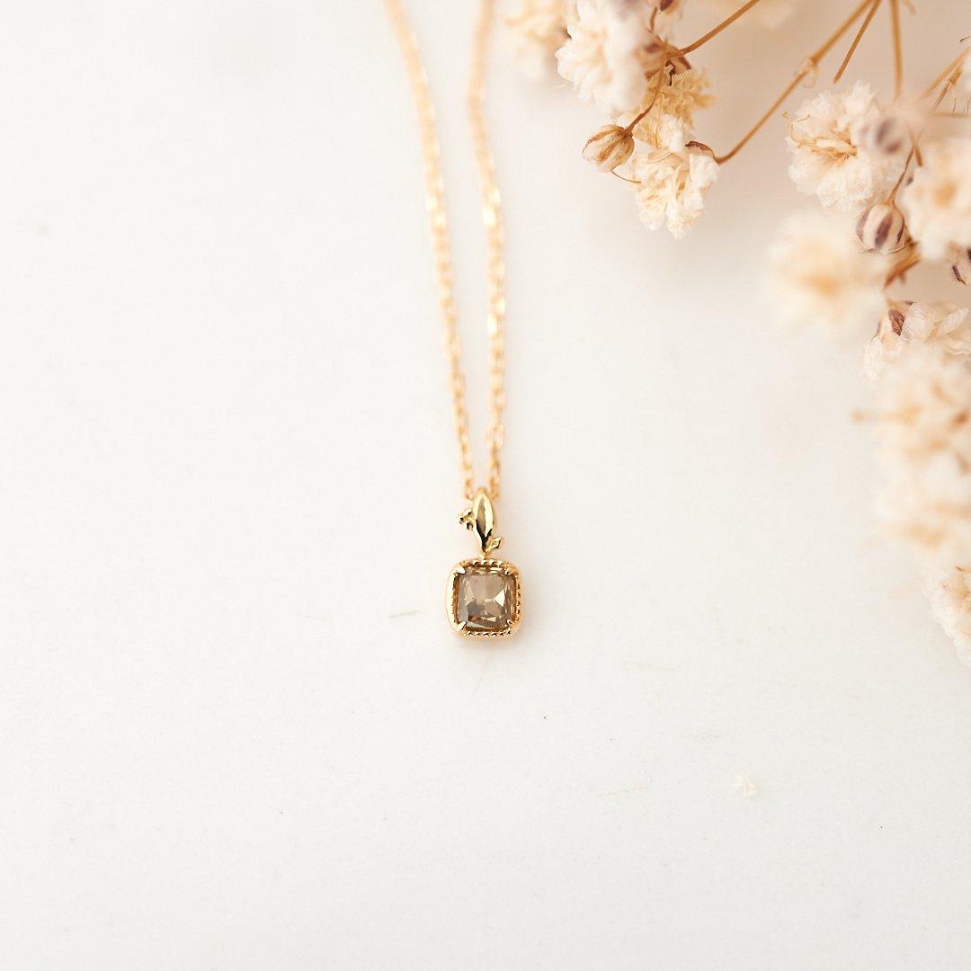 【1点もの】グリーンダイヤモンド 青林檎 K18 ネックレス