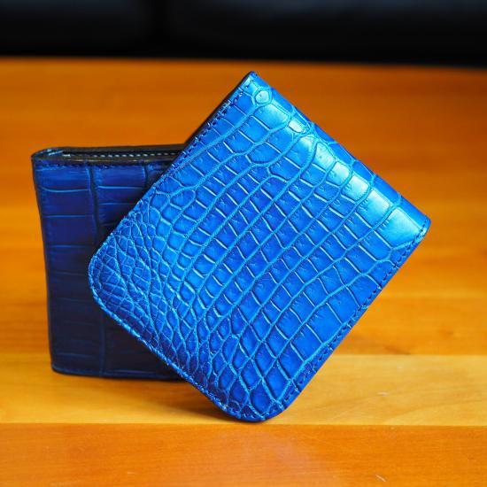 size 40 7b5e0 90034 【7SENSE】コンパクト二折財布/クロコダイル本藍染(Limited color) - 7SENSE
