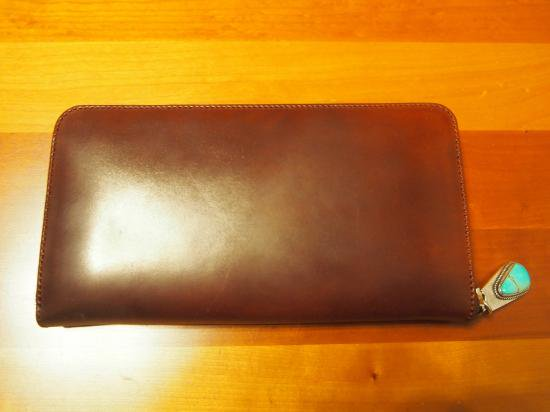 【7SENSE】シェルコードバン・ラウンドジップ長財布/NO.4(ターコイズパーツ)