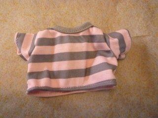 ロングTシャツ グレー×ピンク