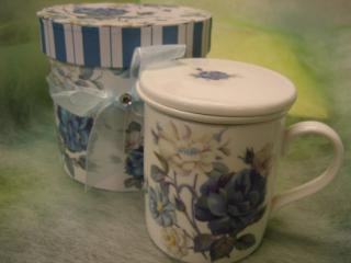 茶こし付きマグカップ ブルーローズ