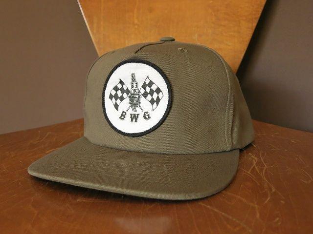B.W.G × M.D CHECKER SPARK CAP OLIVE BLUCO MAGICAL DESIGN
